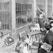 "Black and white photograph of animal artists painting at the Jardin des Plantes, Paris. From the magazine ""L'Illustration"", 7 August 1902."