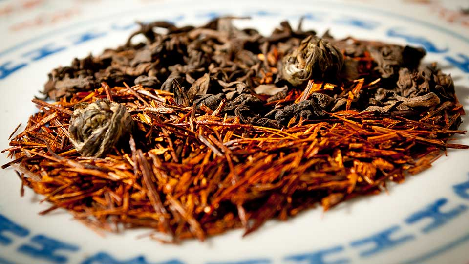 Rooibos Redbush, Jasmin Pearl Green Tea and Pu'erh Black Teas