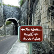 Fictitious Tim Hortons Coffee Drive Thru sign in Bermuda