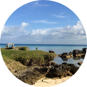 View of a bench on the promontory from Daniel's Head beach, Bermuda