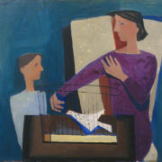 William Scott's 1947 expressionist portrait of a boy, a bird in a birdcage and his mother.