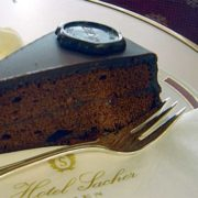 Sachertorte, fork and napkin from Hotel Sacher, Vienna, Austria