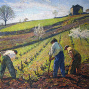 "Post Impressionist painter Henri Martin's, ""Cultivation of the Vines,"" an Italian landscape of Italian men cultivating rows of young grape vines"